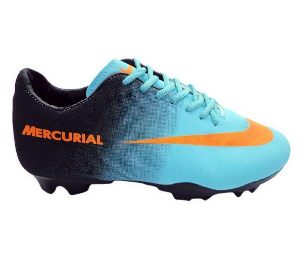 63622137043be Chuteira Nike Mercurial Azul, Preto e Laranja MOD: 11596 - LC ...